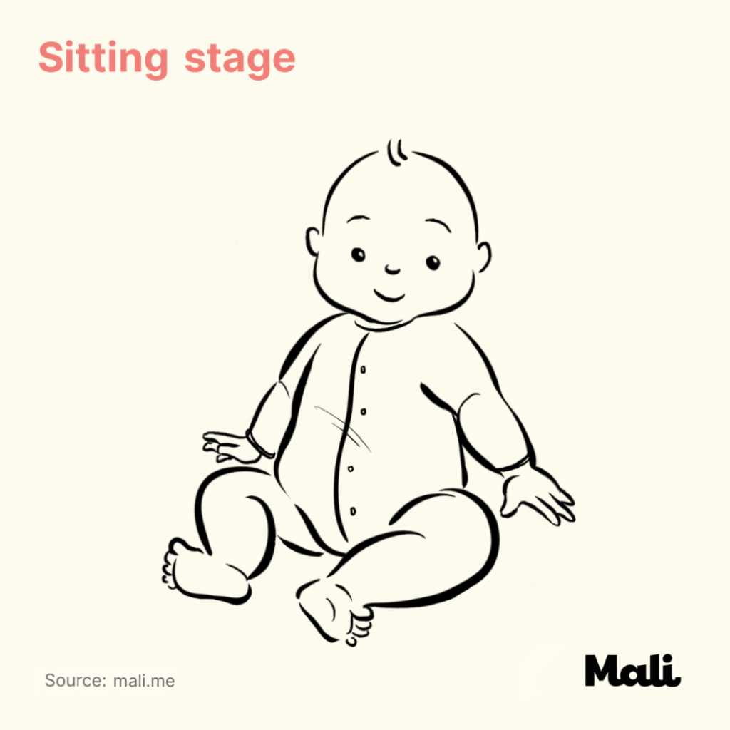 8 stages of baby walking_Sitting stage by Mali