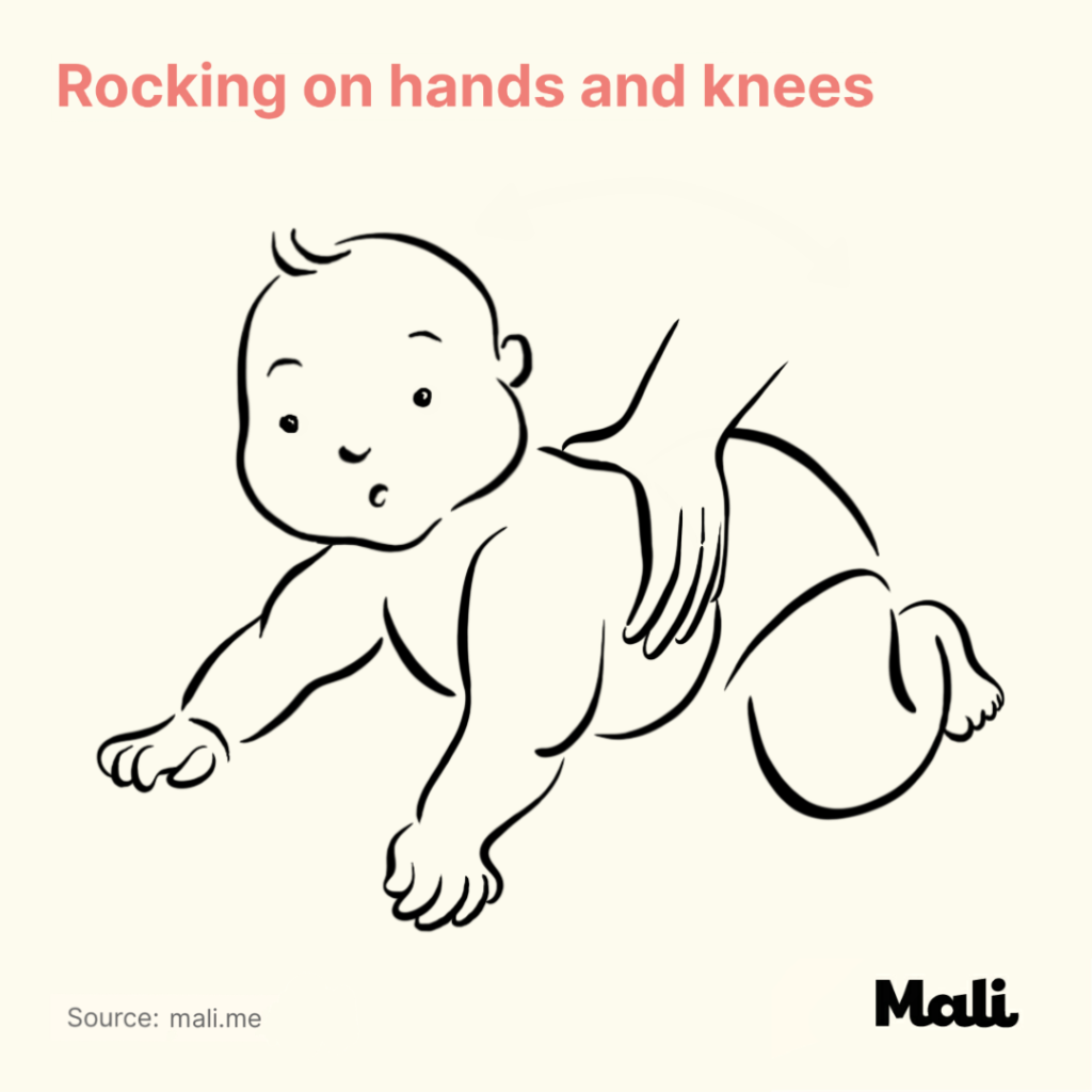 Rocking on hands and knees Five Ways to Encourage Crawling by Mali
