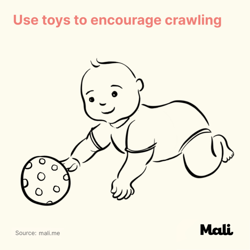 Use toys to encourage crawling Five Ways to Encourage Crawling by Mali