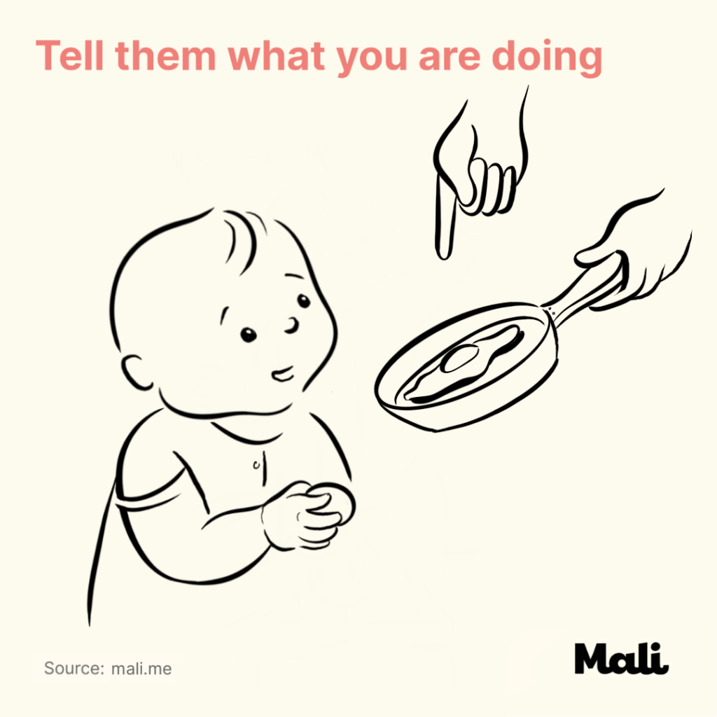 6 ways to boost baby's language skills_Tell them what you are doing by Mali
