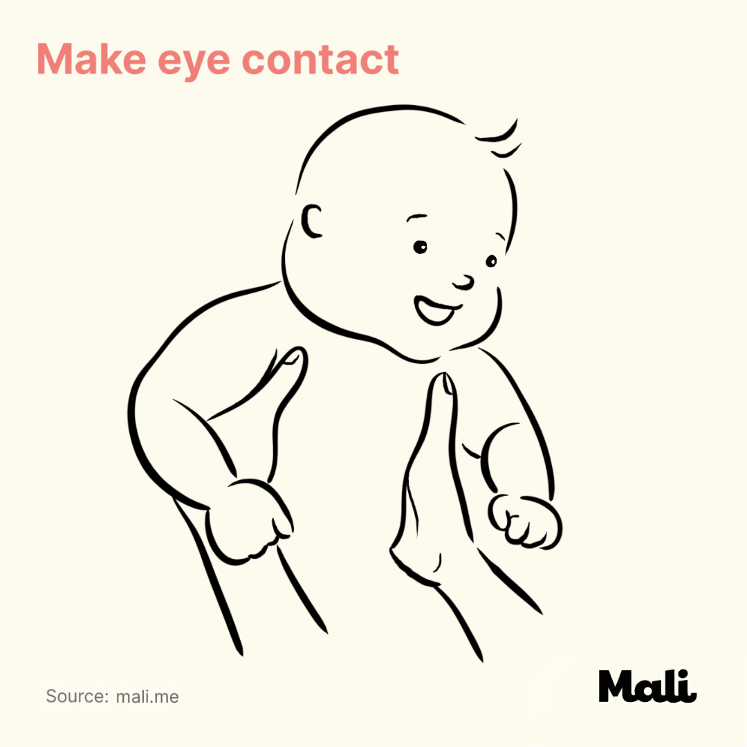 Make eye contact_7 important things to do when talking to a baby by Mali