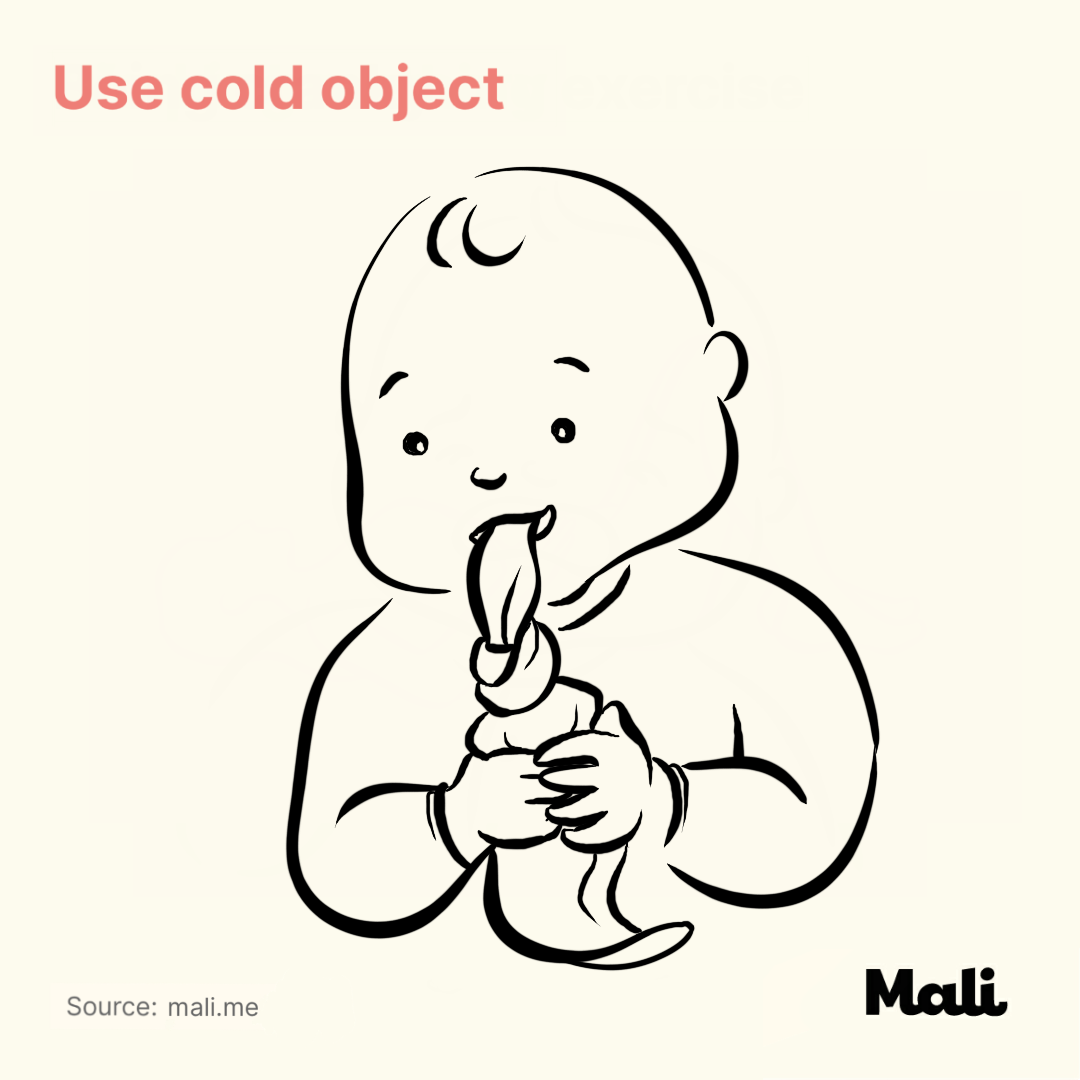 Use cold object_5 ways to relieve teething-related pains by Mali
