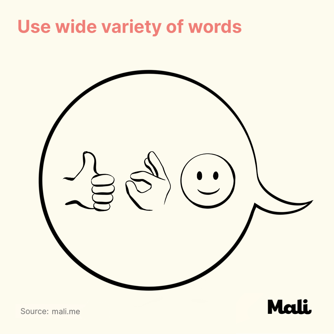 Use wide variety of words_7 important things to do when talking to a baby by Mali